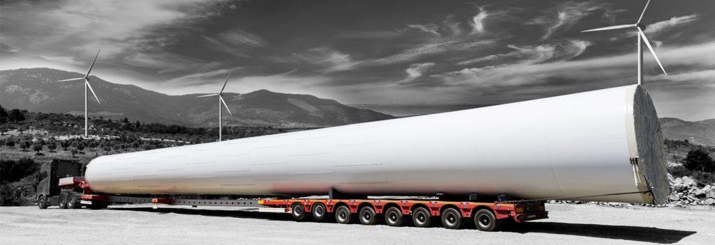 Semirimorchio per turbine eoliche